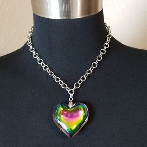Rainbow Heart Silver Tone Chain Necklace